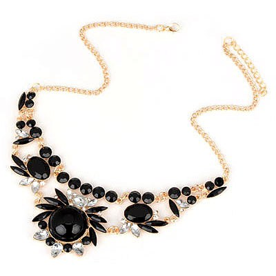 Expression Black Gemstone Flower Design Alloy Bib Necklaces