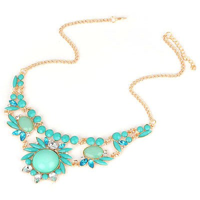 Native Blue Gemstone Flower Design Alloy Bib Necklaces