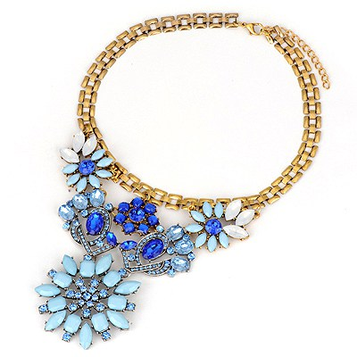 Players Blue Gemstone Flower Design Alloy Bib Necklaces