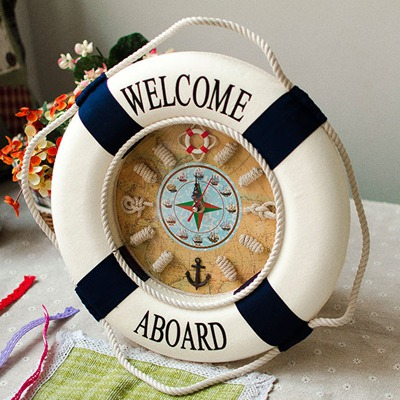 Crinkle Color Will Be Random Life Buoy Wall Clock Design Cloth Art Household goods