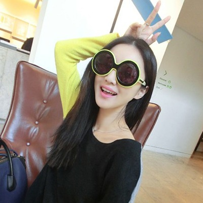 Native Yellow Double Color Simple Design Plastic Women Sunglasses