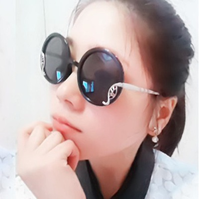 Expensive Black Totem Metal Design Plastic Women Sunglasses