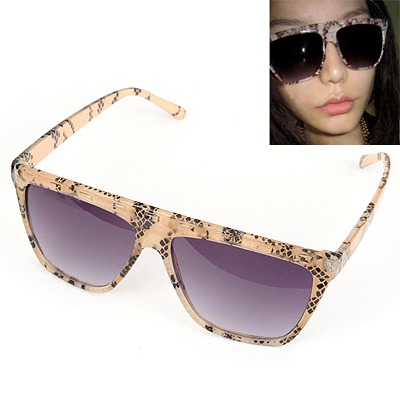 Funky Light Brown Snakeskin Grain Frame Design Plastic Sunglasses