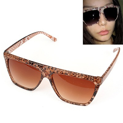Womens Brown Snakeskin Grain Frame Design Plastic Women Sunglasses