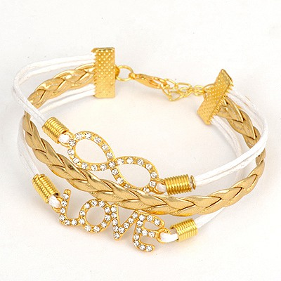 2013 Gold Color Letters Love And Number 8 Style Alloy Korean Fashion Bracelet