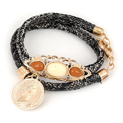 Authentic Black Double Snakeskin Grain Design Alloy Korean Fashion Bracelet