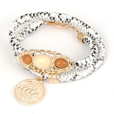 Pendant White Double Snakeskin Grain Design Alloy Korean Fashion Bracelet
