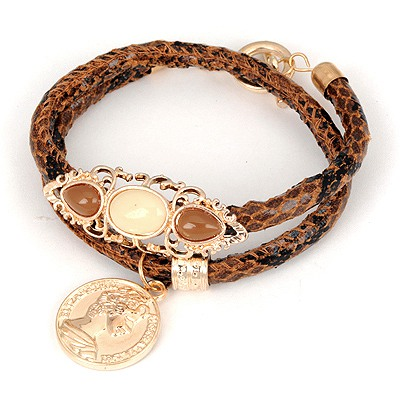 Online Coffee Double Snakeskin Grain Design Alloy Korean Fashion Bracelet