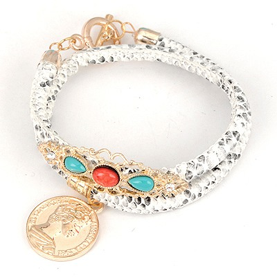 Barbie White Double Snakeskin Grain Design Alloy Korean Fashion Bracelet