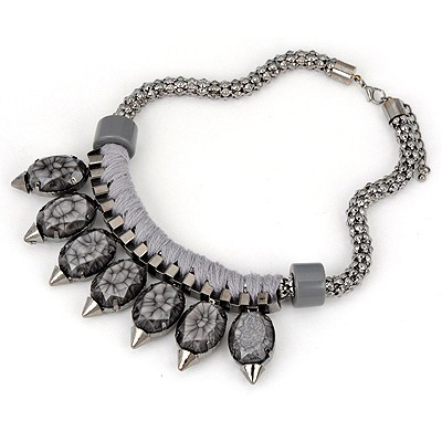 Puritan Gray Simple Turquoise Design Alloy Bib Necklaces