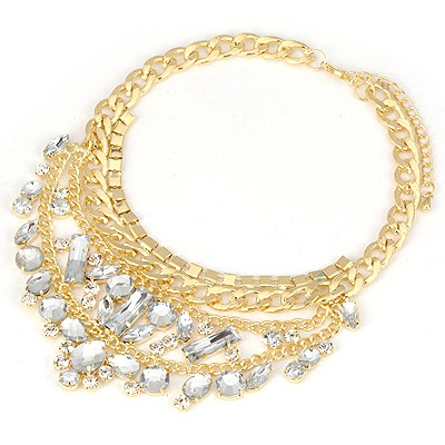 Kennedy Gold Color Acrylic Decorated Metal Collar Design Alloy Bib Necklaces