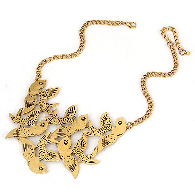 Turkish Bronze Birds Fly Design Alloy Bib Necklaces