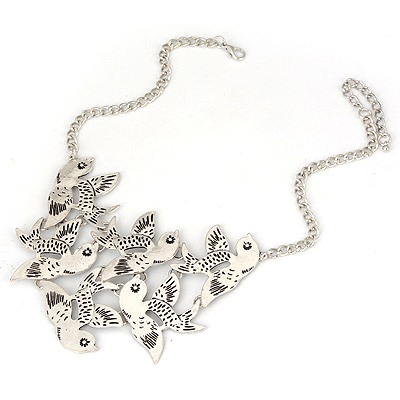 Greek Antique Silver Birds Fly Design Alloy Bib Necklaces