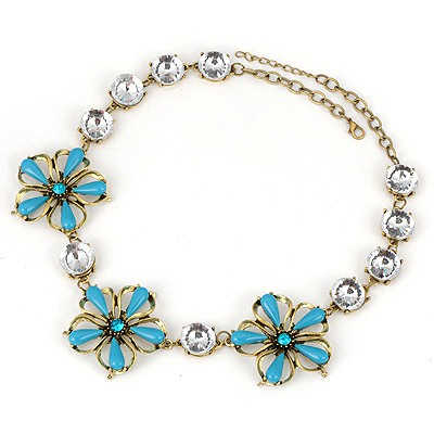 Smart Blue Three Flowers Simple Design Alloy Bib Necklaces