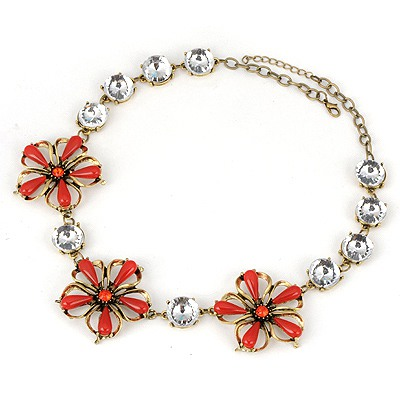 Chunky Red Three Flowers Simple Design Alloy Bib Necklaces
