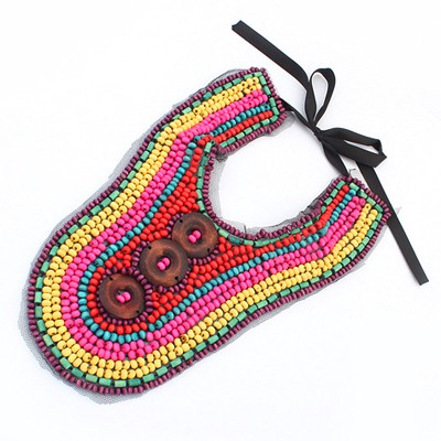 Evil Multicolor Buttons Decorated Beads Weave Design Measle Bib Necklaces