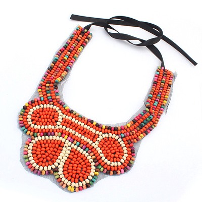 Pretty Orange Beads Weave Collar U Shape Desing Measle Bib Necklaces