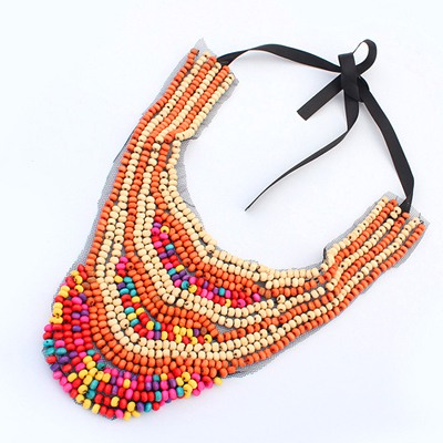 Religious Multicolor Beads Weave Collar Desing Measle Bib Necklaces