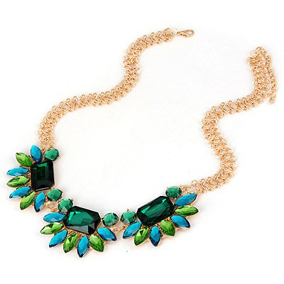 Minted Green Elegant Gemstone Simple Design Alloy Bib Necklaces