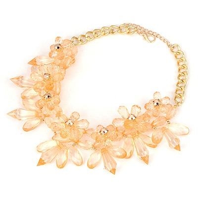 Barbie Champagne Big Flower Cone Shape Design Alloy Bib Necklaces