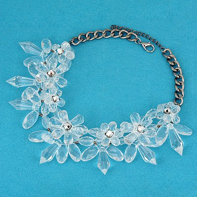 Nameplate White Big Flower Cone Shape Design Alloy Bib Necklaces