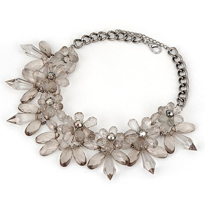 Healing Gray Big Flower Cone Shape Design Alloy Bib Necklaces
