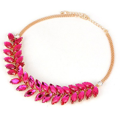 Magnifying Plum Red Abstract Wheat Design Alloy Bib Necklaces