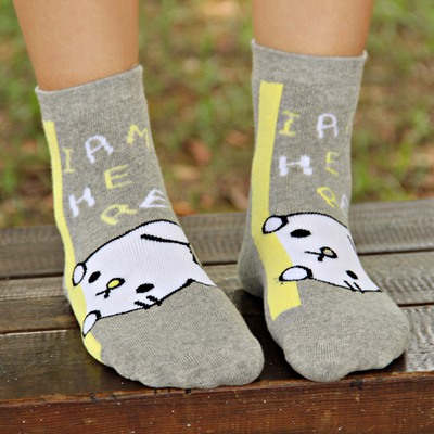 Diabetic Gray Letters & Cat Pattern Design Cotton Fashion Socks