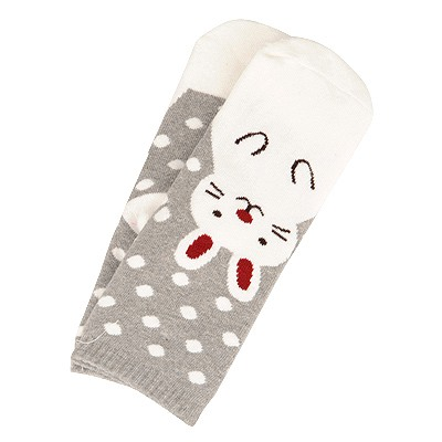 Heather Off White Dot & Rabbit Pattern Design Cotton Fashion Socks