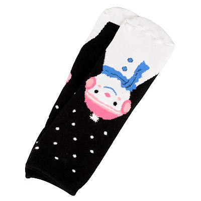Rebel Black Snowman Pattern Design Cotton Fashion Socks