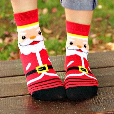Facial Red Santa Claus Pattern Design Cotton Fashion Socks