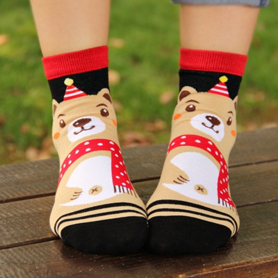 American Khaki Brown Bear Pattern Design Cotton Fashion Socks