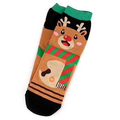Kids Brown Fawn Pattern Design Cotton Fashion Socks