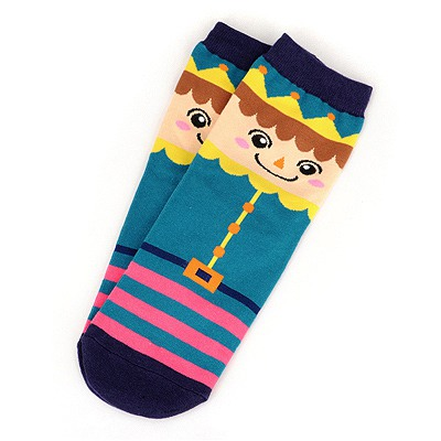 Cheerleadi Blue Poker Clown Pattern Design Cotton Fashion Socks