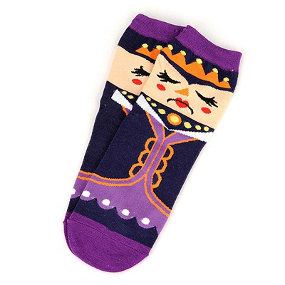 Wonderful Purple Poker Queen Pattern Design Cotton Fashion Socks