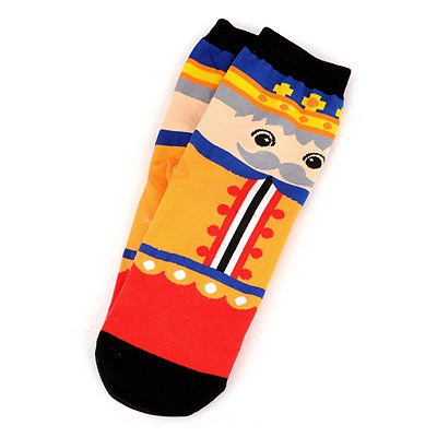 Standard Multicolor Poker King Pattern Design Cotton Fashion Socks
