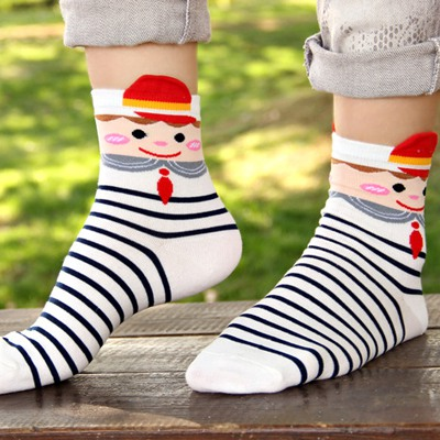 Mens White Cross Stripes Simple Design Cotton Fashion Socks