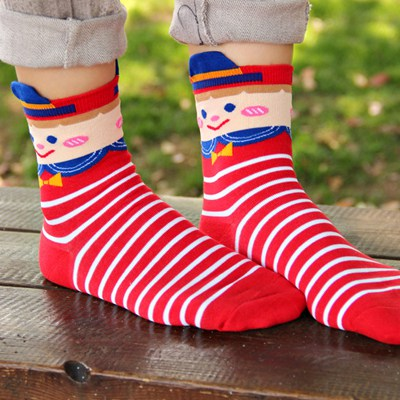 Teen Red Cross Stripes Simple Design Cotton Fashion Socks