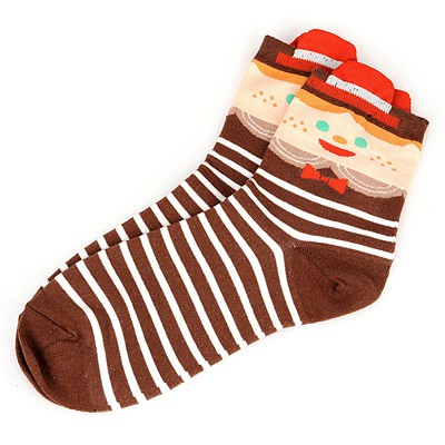 Electronic Coffee Cross Stripes Simple Design Cotton Fashion Socks