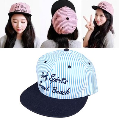 Sample Light Blue Embroidery Surt Spirits Stripe Design Canvas Fashion Hats