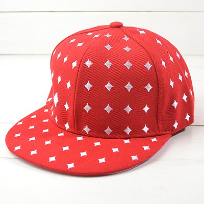 Single Red Embroidery Poker Square Design Canvas Fashion Hats