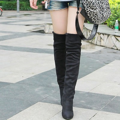 Homecoming Black Simple Design Dull Polish Velvet Boots