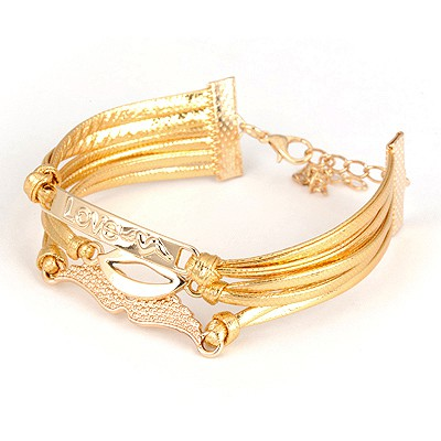 Floral Gold Color Miltilayer Lip Pattern Design Alloy Korean Fashion Bracelet
