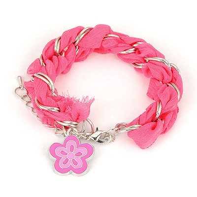Light Plum Red Weave Flower Design Alloy Korean Fashion Bracelet