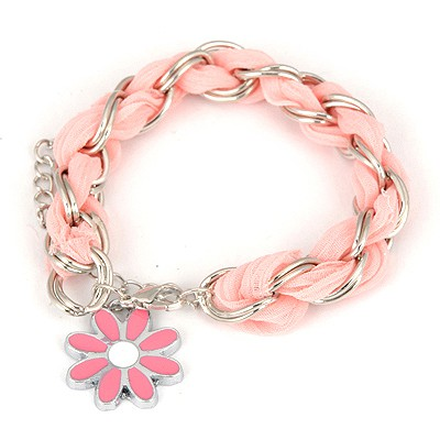 Waxing Pink Weave Flower Design Alloy Korean Fashion Bracelet