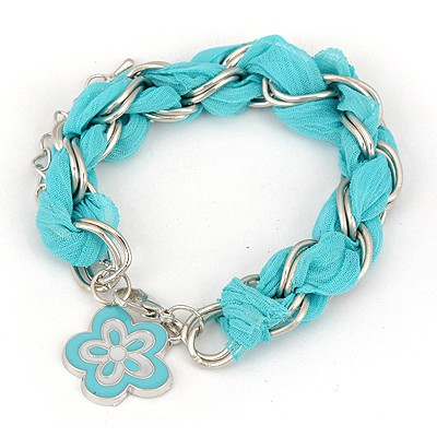 Limited Blue Weave Flower Design Alloy Korean Fashion Bracelet