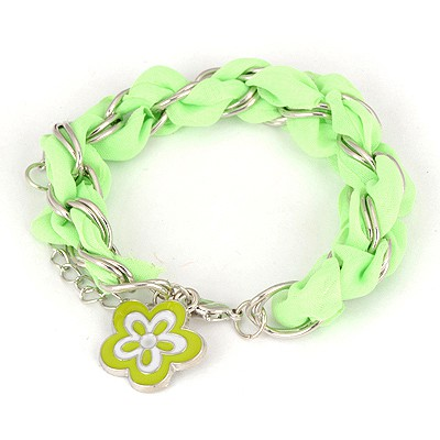 Gothic Green Weave Flower Design Alloy Korean Fashion Bracelet