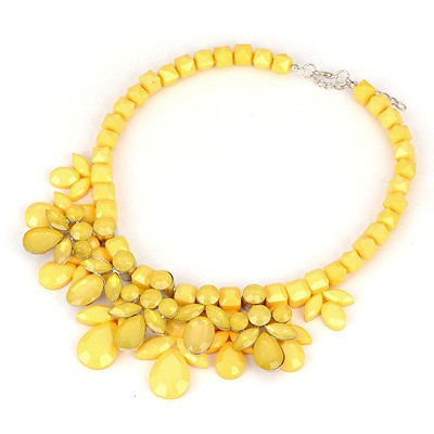 Dancing Yellow Gemstone Decorated Design Alloy Bib Necklaces