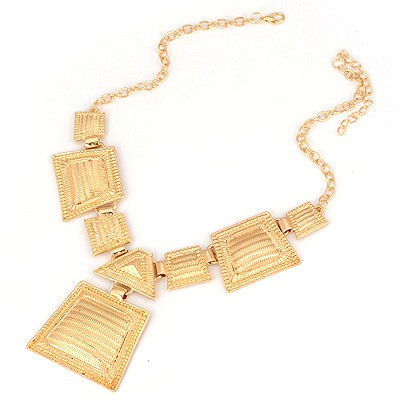 Minted Gold Color Village Geometric Matching Design Alloy Bib Necklaces