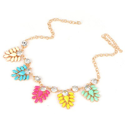 Maternity Multicolor Five Flowers Decorated Design Alloy Bib Necklaces